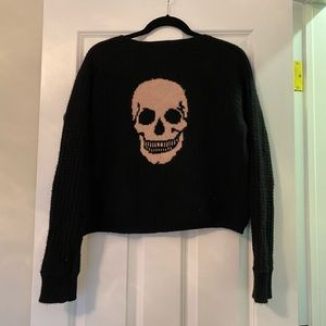 RARE Skull Cashmere Black Cropped Sweater